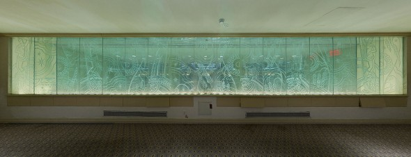 The etched glass installation on the upper balcony