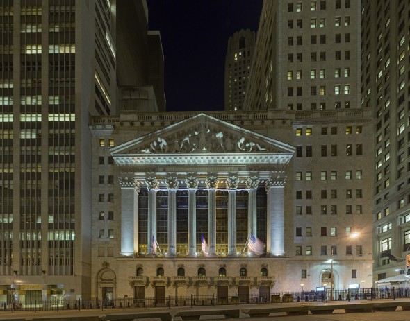 New York Stock Exchange (NYSE) Portal during the night